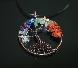 tree of life pendant with gemstones