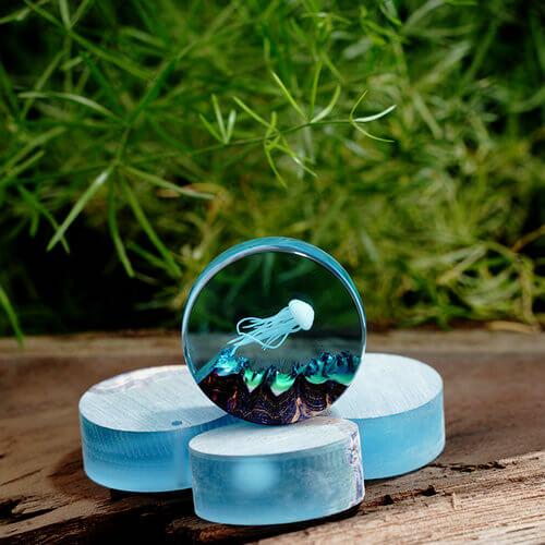 blue resin necklace ocean landscape water pendant Resin ocean necklace mini terrarium necklace