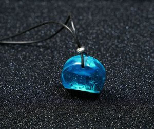 Handmade Arctic Foil Resin Necklace Blue and Silver Square Resin Pendant Jewellery