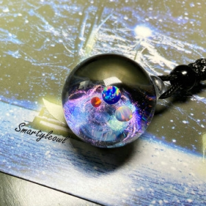 galaxy resin pendant
